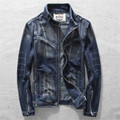 2016 Autumn Fashion Denim Jacket Stand Collar Retro Zipper Casual Jackets High Quality Male Motorcycle Jeans Clothing A1565