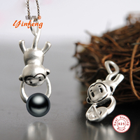 Yinfeng 925 Sterling Silver Pearl Pendant Necklace Monkeys Grasp For The Moon Jewelry Real Freshwater