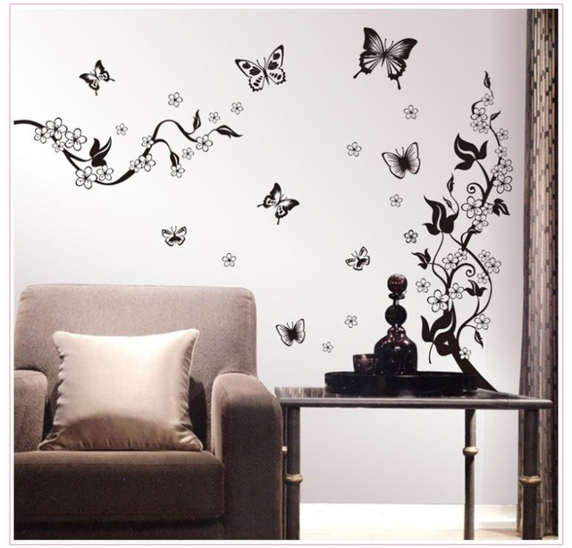 Home Decor 3d Stickers Flower Vine Butterfly Wall Stickers Art Decals 3d Wallpaper House Decoration Product