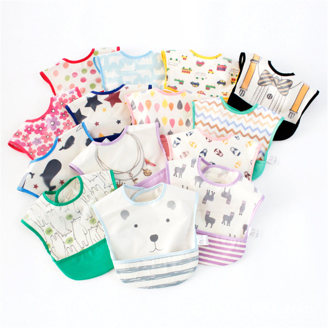 Baby Bibs Infant Burp Cloths Toddler Scarf Feeding Smock plastic table cloth Waterproof Coverall Baby Animals Baby Feeding Cloth