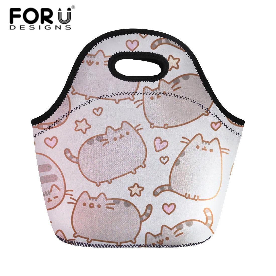 FORUDESIGNS Cartoon Pusheen Cat Lunch Bags For Kids School Thermal Bag Lunch Box Food Picnic Bags Totes Portable Storage Bag Sac