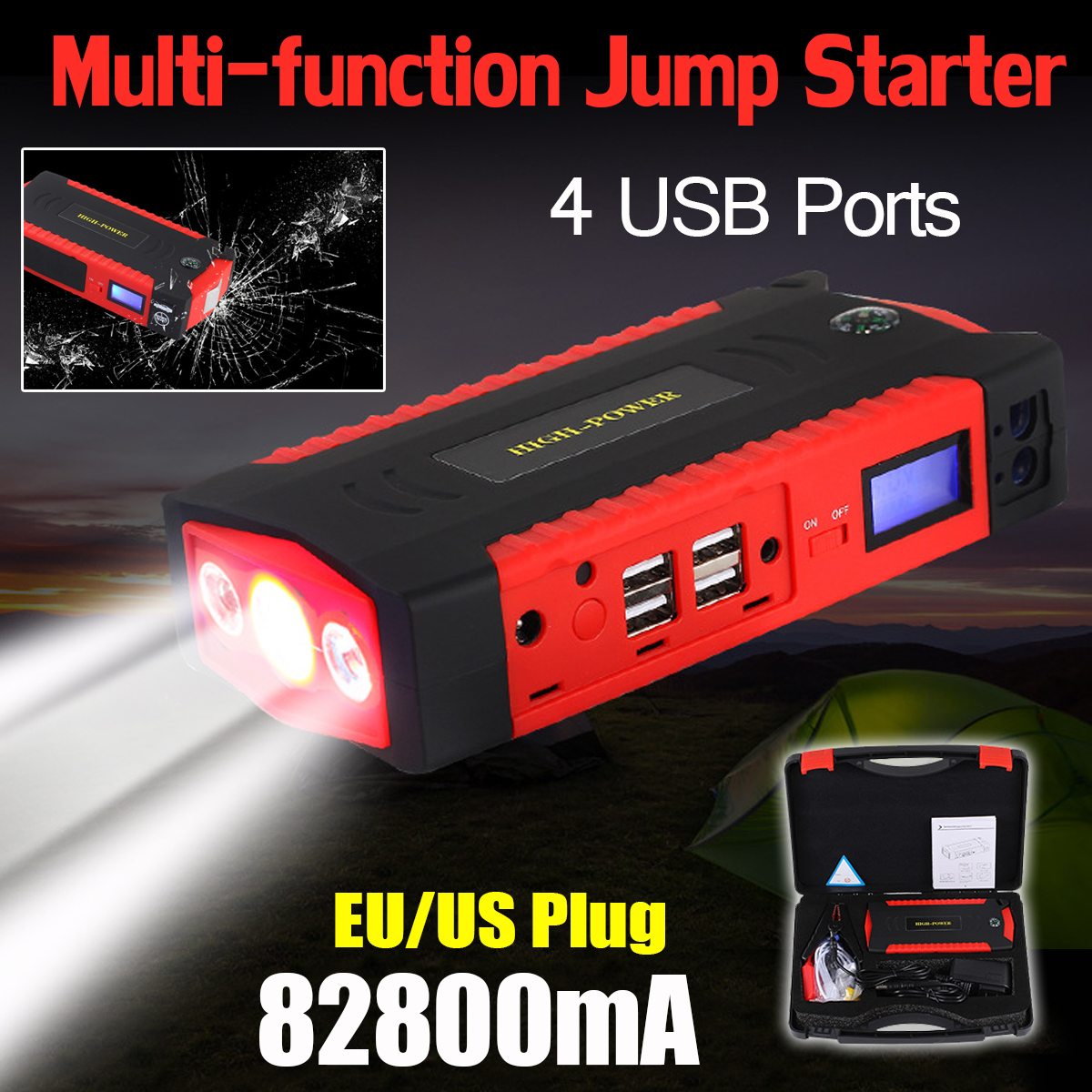 Portable 82800mAh 12V LCD 4USB Car Jump Starter Device Booster Charger Battery Power Bank LED Flashlight For Car Battery Charger practical 89800mah 12v 4usb car battery charger starting car jump starter booster power bank tool kit for auto starting device