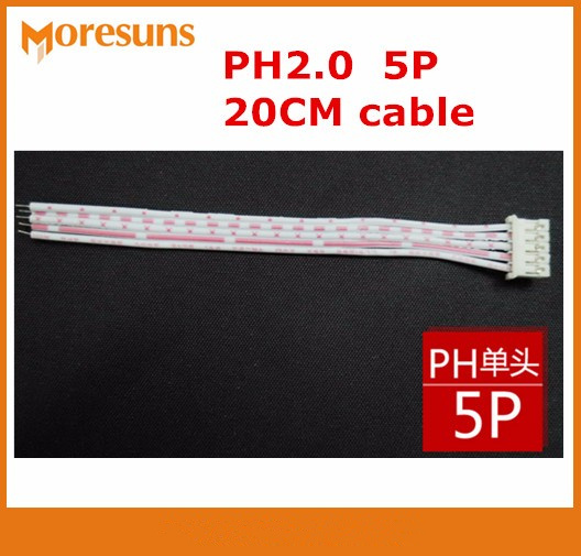 Fast Free Ship 100pcs/lot 5P PH Red And White Flat Cable Single-end PH2.0 Plug,other End Tin Plating 20CM Cables
