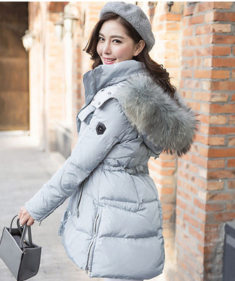 Light blue parka with fur hood