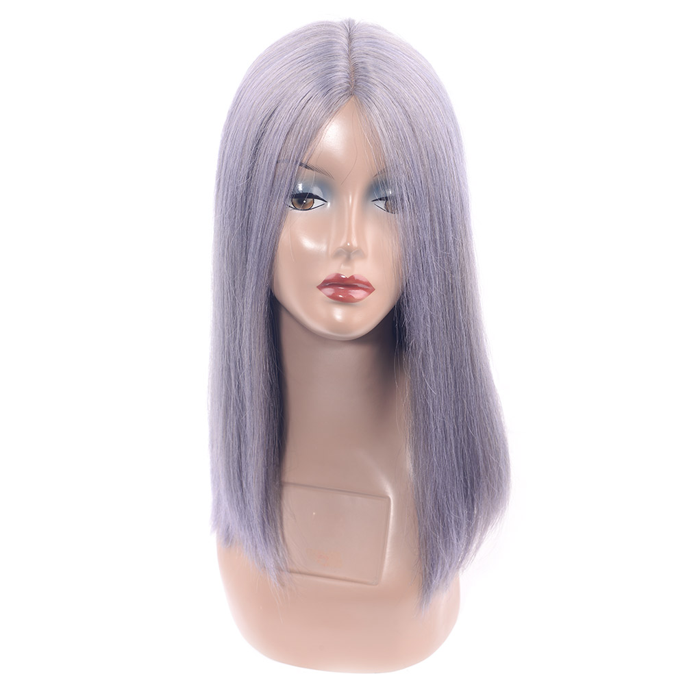CHOCOLATE Lace Part Handmade Grey Remy Human Hair Wig Brazilian Straight Lace Front Wig For Women Daily Sliver Color 17 Inch