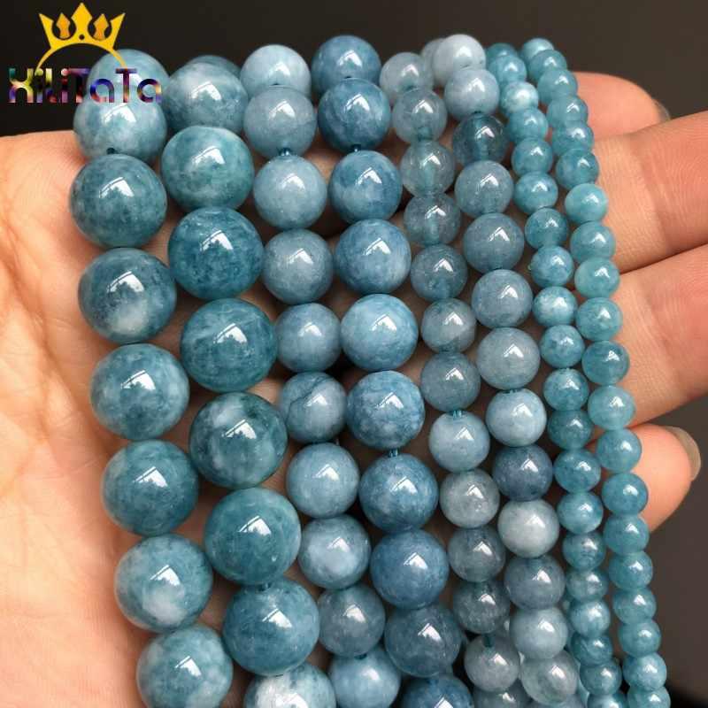 טבעי אבן כהה כחול שוהם Jades חרוזים עגול Loose חרוזים Spacer עבור תכשיטי ביצוע 4/6/8/ 10/12mm DIY בעבודת יד צמידים