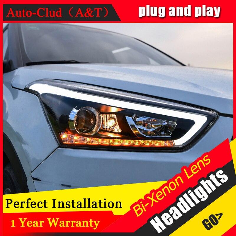 Стайлинга автомобилей для Hyundai ix25 ix25 для светодиодные фары глава лампы глаза Ангела Сид переднего света Би-Ксеноновые линзы Ксеноновые HID комплект