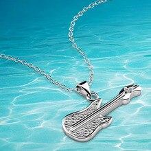 Nueva! guitarra colgante, plata 925 collar y colgante para mujeres