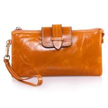 2016 neue Mode Frauen echtes Leder Brieftasche 100% Rindledermappe Frauen Design Geldbörse Reißverschluss Öl Leder lange Geldbörsen