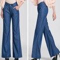 2016 calças de brim da mulher de seda tamanho grande jeans casual calças soltas perna larga calça jeans feminina verão