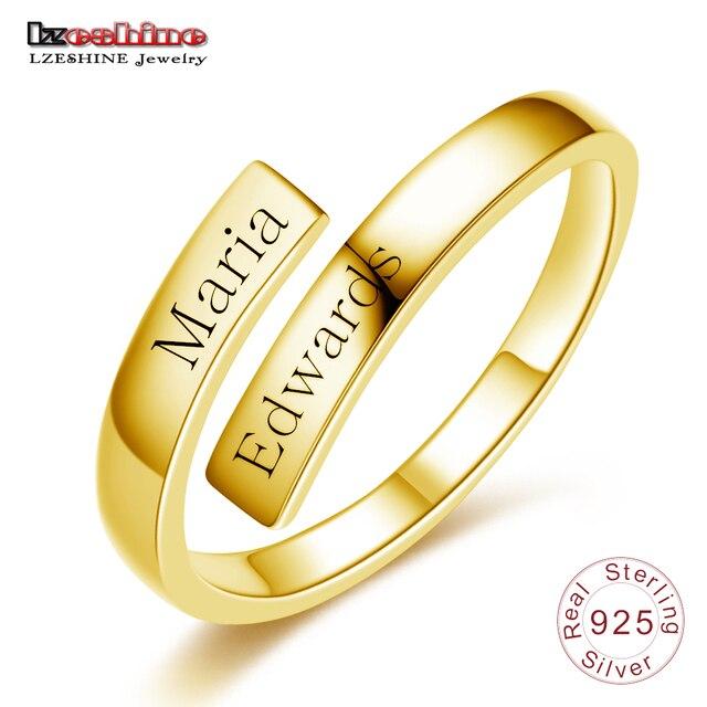 1065ffcbbe8a Aliexpress.com: Comprar LZESHINE grabado nombre pareja anillo 925 Plata de  ley de oro de Color anillo de dedo abierto Simple regalo para los amantes  ...