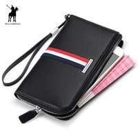 WILLIAMPOLO Fashion Luxury Genuine Leather Striped Long Mens Wallet Phone Coin Zipper Thin Purse Clutch Handy Bag Men PL235