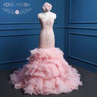 Rosa Moda Blush Pink Abito Da Sposa Fortemente Bordato In Pizzo Mermaid Abiti Da Sposa Abiti Da noiva Reale Foto