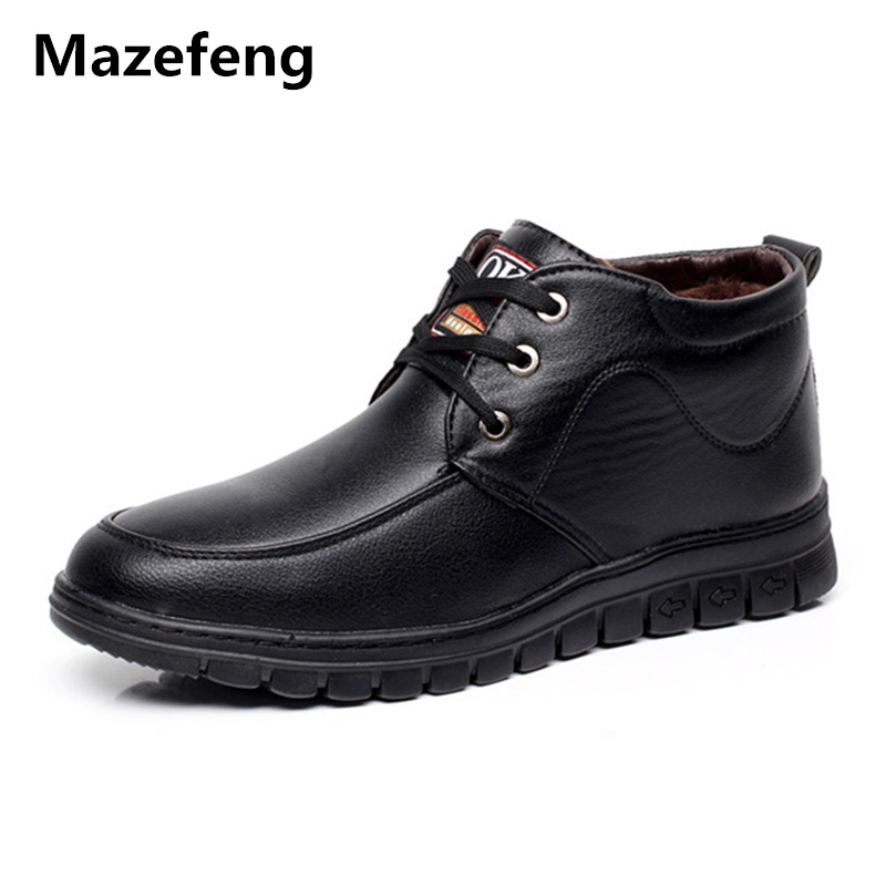 Mazefeng Winter Shoes Keep Warm Male Leather Shoes With velvet Men Dress Shoes Solid High quality Business Leather Boots Lace-up цена