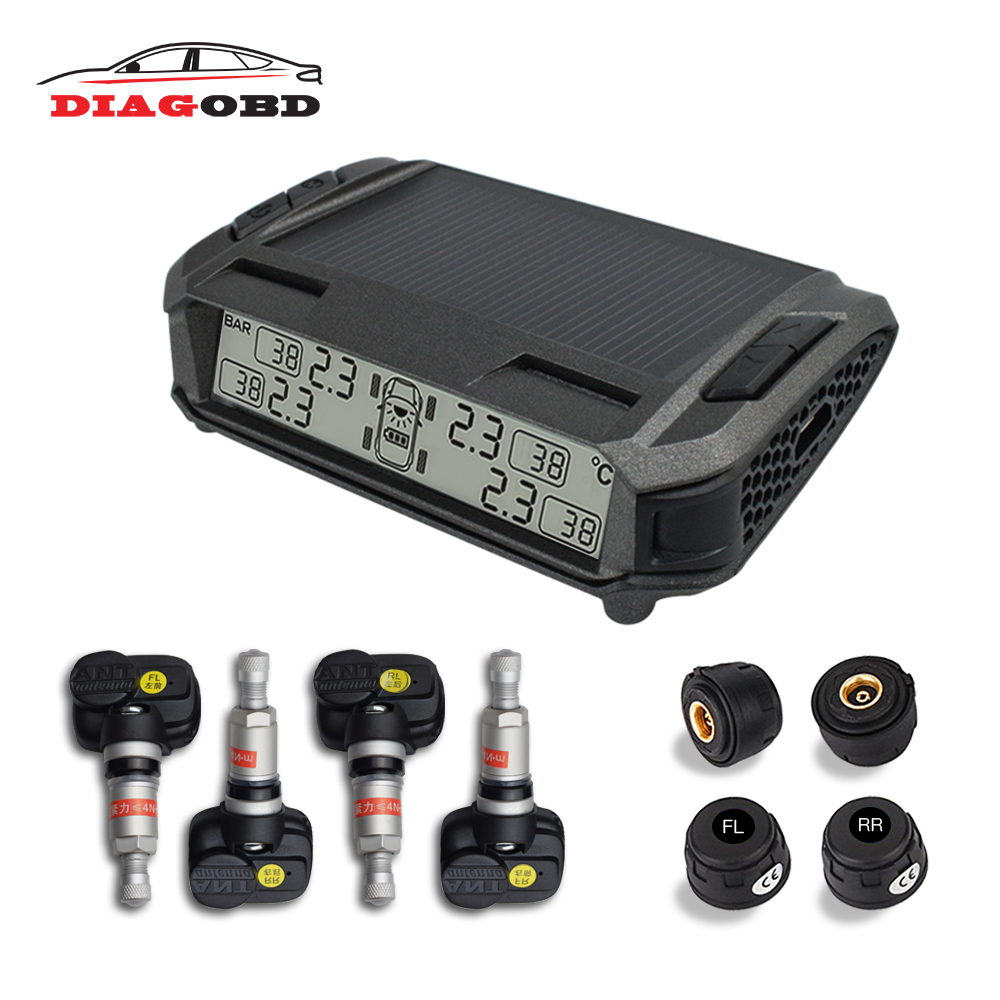 car solar tpms tire pressure monitor wireless tire pressure monitoring alarm system lcd color display internal external sensor TPMS Car Tire Pressure Alarm Monitoring System Solar Wireless Tyre Pressure Monitor Auto TMPS External Internal Sensor