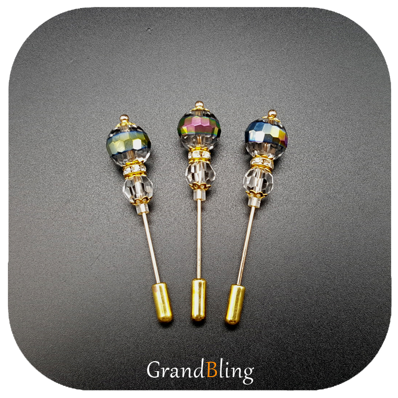 New Arrival Shiny Crystal Beads Lapel Pin & Hijab Pin