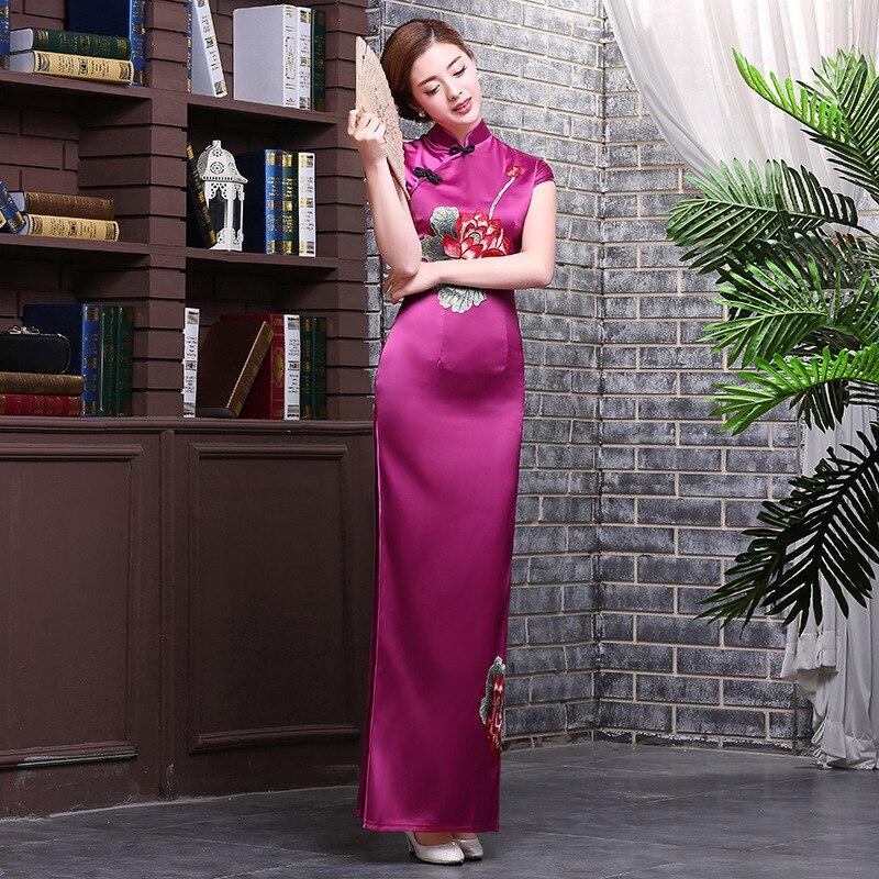 European Vintage font b Women s b font Silk Satin Long Cheongsam font b Fashion b