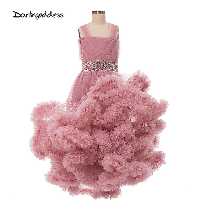 Cloud Flower Girls Dresses for Wedding Kids Pageant Dress First Communion Dresses for Little Girls Sexy Party Prom Dress 2017
