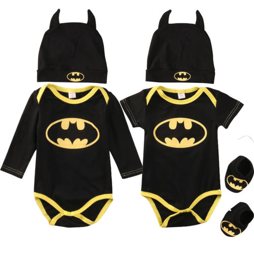 Fashion Batman Baby Boys Rompers Jumpsuit Cotton Tops+Shoes+Hat 3Pcs Outfit  Clothes Set