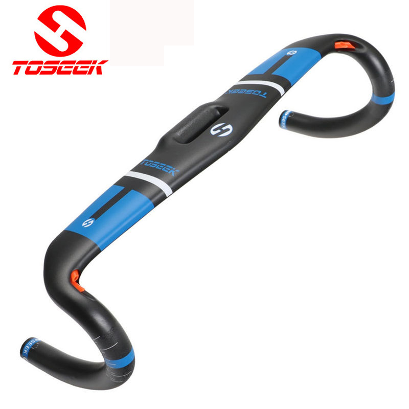 TOSEEK  Full Carbon  Fiber Handlebar  Integrated Road Bicycle Handlebar UD Matte Broken Wind Bent bars 31.8*400/420/440mm Blue пистолет для монтажной пены зубр 06873