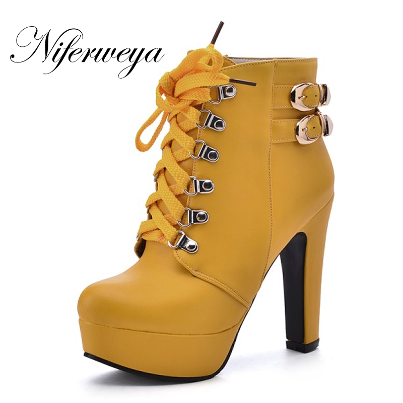 New Sexy Platform thick heel high heels Big size 34-50 women shoes fashion spring/autumn Lace-Up Ankle boots zapatos mujer new spring autumn women boots black high heels thick heel boots lace up platform ankle boots large size 34 43