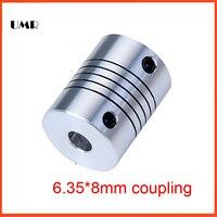 4pcs Lot D18mmXL25mm Inner 6 35X8mm Flexible Couplings Aluminium Stepper Motor Flexible Shaft Coupler 6 35