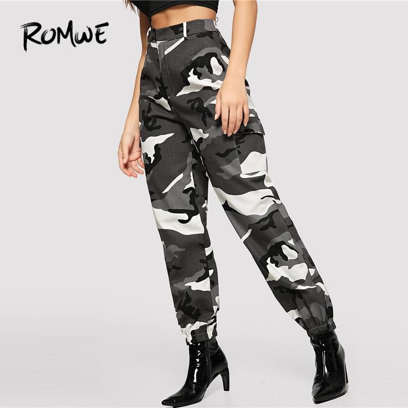 56d3e5e7514 ROMWE Flap Pocket Side Cami Utility Pants 2019 Camouflage Pockets Mid Waist  Pant Spring Autumn Zipper