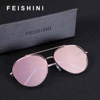 FEISHINI Брендовая Дизайнерская обувь потребительские суперзвезда металлический Круглые Солнцезащитные очки Для женщин высококачественные о...