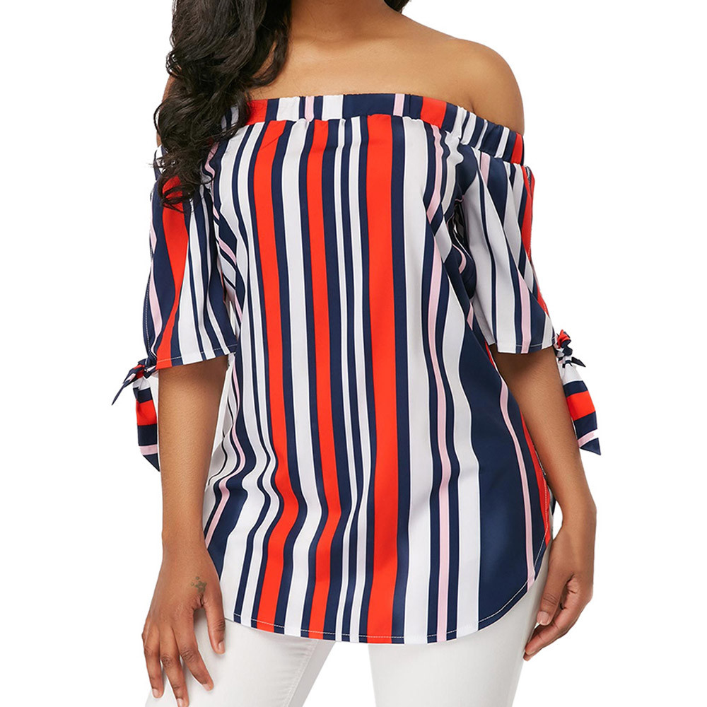 Women's Clothing Ishowtienda Fashion Shirts Women Blouses Women  S Tops Casual Half Sleeve Off Shoulder Bandage Stripe Printed Tops Haut Femme Strong Packing
