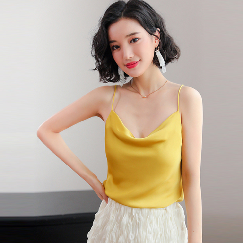 Gkfnmt Women   Tank     Top   2019 New Summer Sexy Sleeveless Faux Silk Shirt Cami Loose Female Crop   Tops   Vest Ladies Black White Yellow