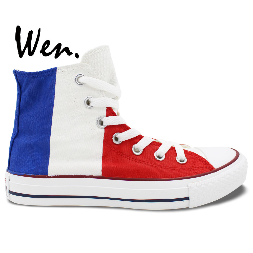 Wen Best Popular Hand Painted Shoes Custom Design France French National Flag Men Women's High Top Casual Canvas Shoes