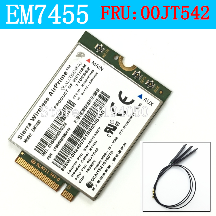 EM7455 Sierra Wireless FDD / TDD LTE 4G Module  Gobi6000 For Lenovo FRU: 33300JT542 T460 T460p L560 Йога 260 P50