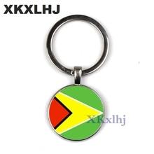 XKXLHJ Cuba/Guyana Flag Key Chain Art Photo Men Car Key Ring Jewelry Charm Glass Cabochon Pendant Women's Handbag Keychain цены