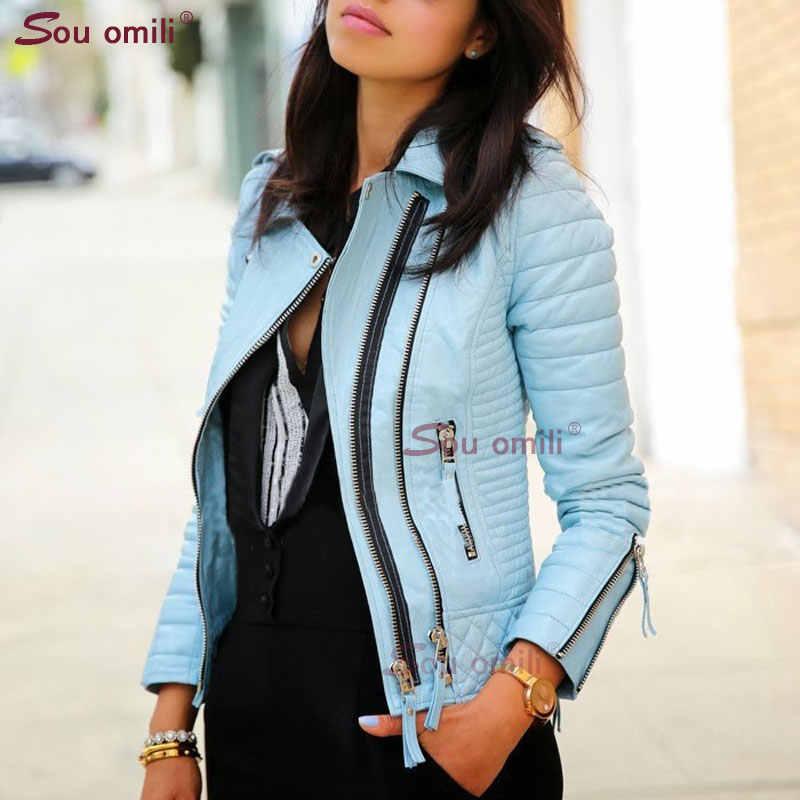 ブルー菱形レザージャケット女性のためのリベットパンクモトコートフェイクジャケット jaquetas couro Casaco ジャケットチャケータ cuerina mujer