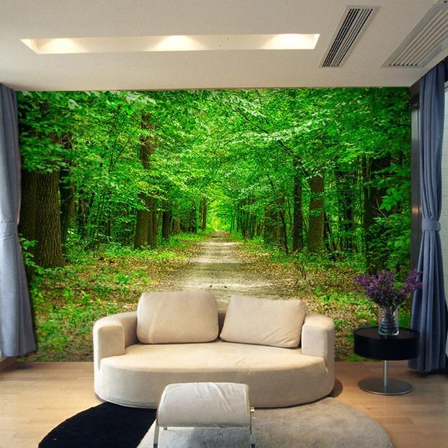 Kustom ukuran 3d dinding mural wallpaper untuk ruang tamu alam pemandangan foto muralsblue hutan pohon
