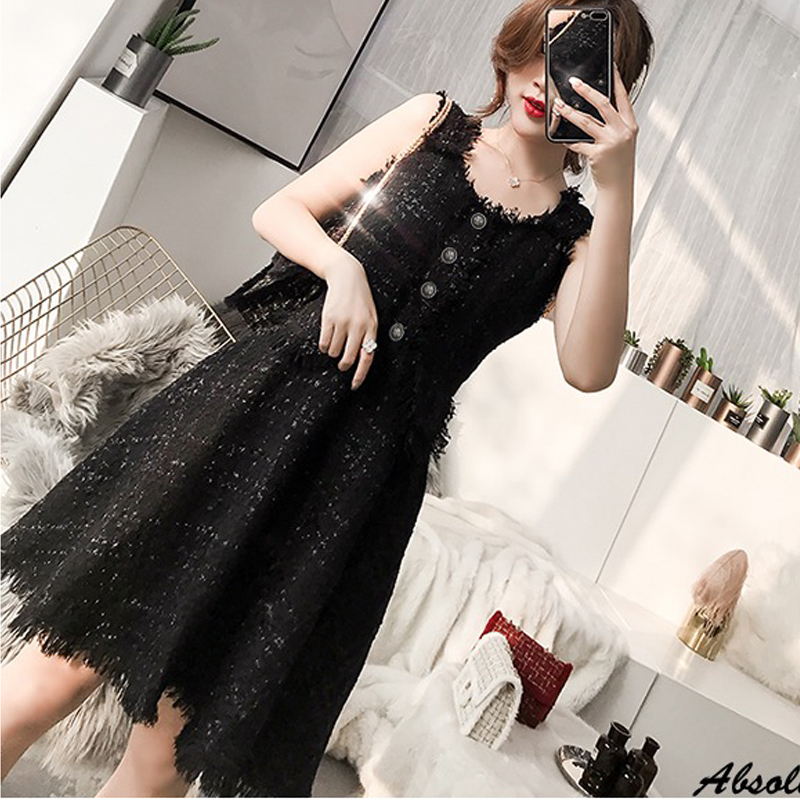 Black tweed dress 2019 spring autumn women s dress new ladies retro vest waist a line