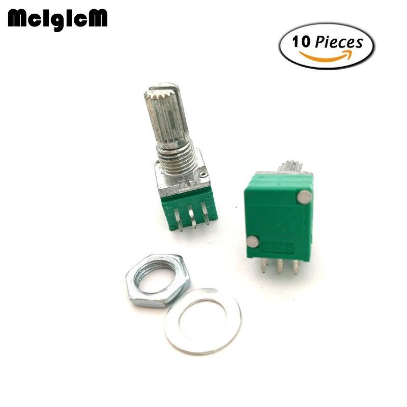 10pcs B5K RV097NS Audio Amplifier Sealed Dual Potentiometer 15mm Shaft 5PINS