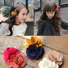 Spring New Style Colorful Flower Two-color flower Hair Clips  Hairband Hairpin Hand Made Rim Accessories Bows
