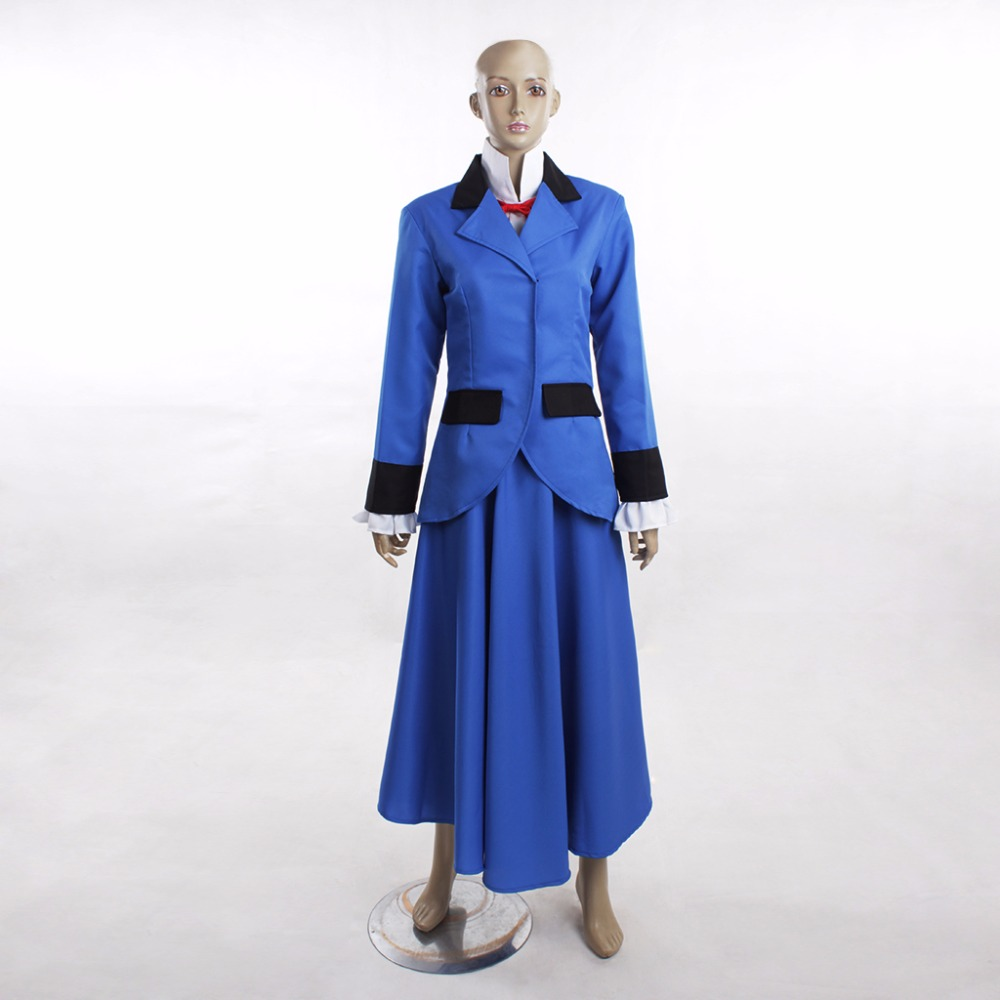 Cosplaydiy Custom Made Mary Poppins Nancy Blue Dress Suit Outfit Halloween Cosplay Costume Lolita Maid Costume