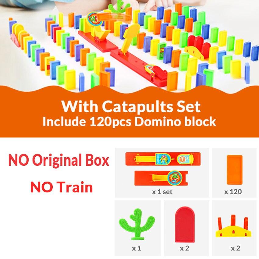 Автоматическая укладка домино кирпич Поезд Автомобиль набор звуковой светильник дети красочные пластиковые блоки домино игра игрушки набор подарок для девочек и мальчиков - Цвет: Catapult set N