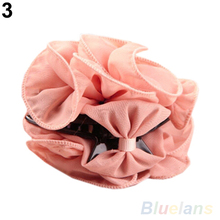 Hot Korean Beauty Chiffon Rose Flower Bow Jaw Clip Women Barrette Hair Claw Claws 1KIH