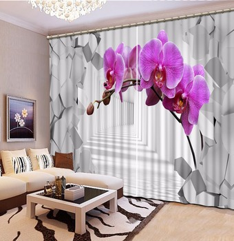 3D Perde Karartma Gölge Pencere Perdeleri Uzay Pembe Çiçekler Perdeler Oturma Odası Için 3D Banyo Duş Perdesi|Perdeler|   -