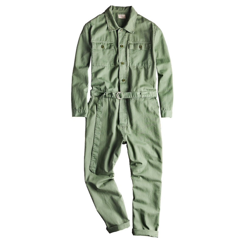 Sokotoo Men's Pockets Long Sleeve With Belt Jumpsuits Loose Hip Hop Overalls Set Casual Coveralls
