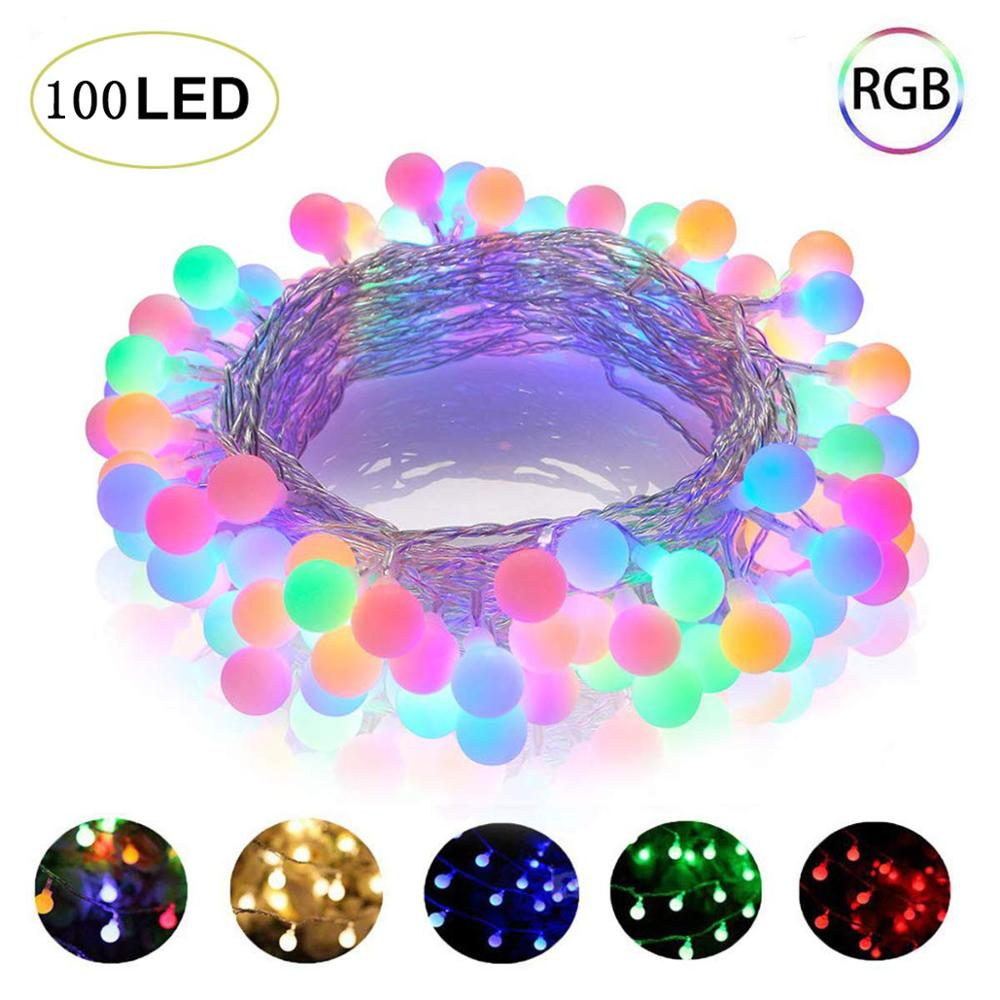 10M 100LED 220V 110V LED Ball String Lights Christmas Bulb Fairy Garlands Outdoor For Holiday Wedding Home New Year s Decor Lamp