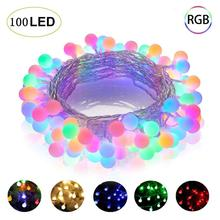 10M 100LED 220V/110V LED Ball String Lights Christmas Bulb Fairy Garlands Outdoor For Holiday Wedding Home New Years Decor Lamp