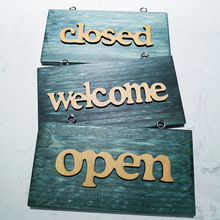 Misaya Open/Closed/Welcome Wooden Sign Plaque Coffee Bar Pub Vintage Home Decor Sign Cafe Door Hanging