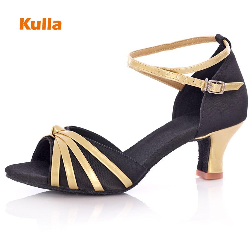 KULLA Ballroom Tango Latin Dance Shoes For Women Black Adult High-heeled Salsa Dancing Shoes Ladies Soft Performing Dance Shoes