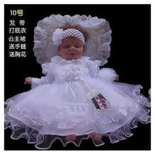 Child lady Baptism Christening Robe wedding ceremony attire New child formal costume units Headband +Rendering clothes+costume+Bracelets+sneakers