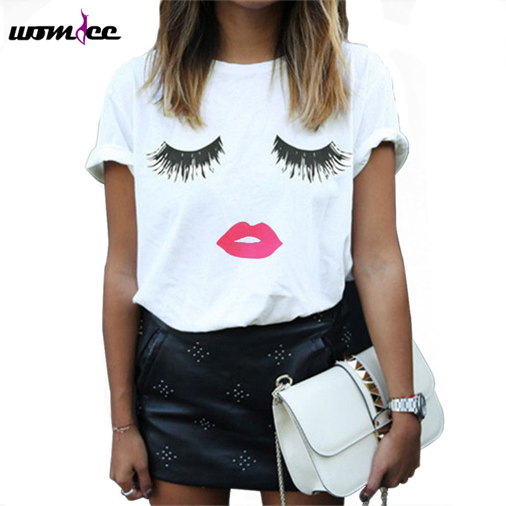 boob tee shirt women eyelashes printed summer short sleeve. Black Bedroom Furniture Sets. Home Design Ideas