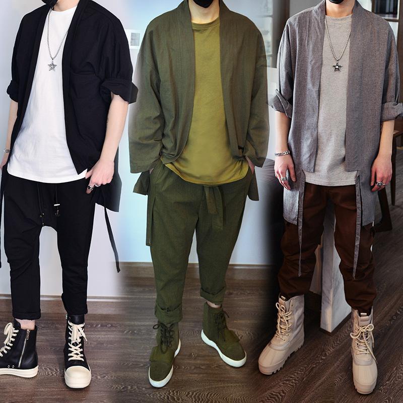 Chinese style Summer linen cotton kimono jacket Men Retro Oversize coat Hiphop Streetwear Casual Outwear Jackets 061403